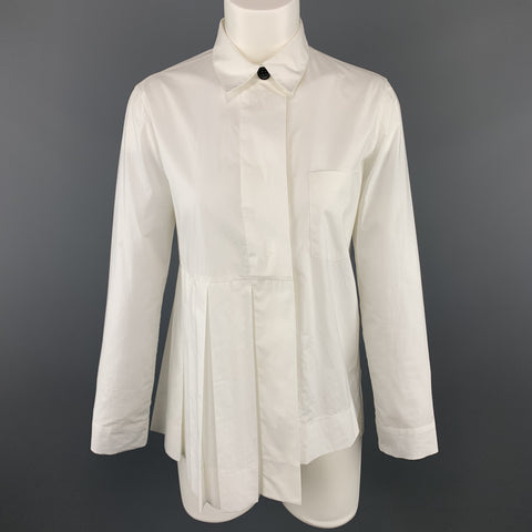 MARNI Size 2 White Cotton Pleated Asymmetrical Blouse