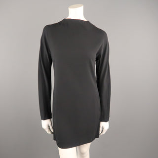 MARNI Size 4 Black Stretch Cream High Neck Long Sleeve Shift Dress