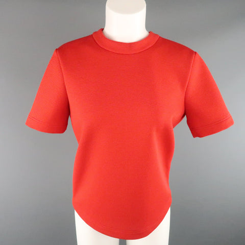 MARNI Size 6 Red Structured Cotton Open Back Belt Closure Top