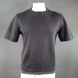 MARNI Size L Dark Gray Cotton Short Sleeve Pullover