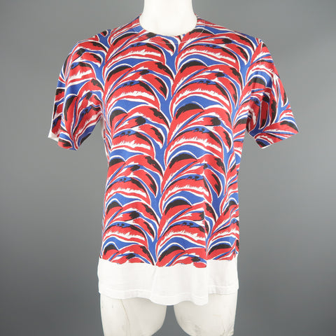 MARNI Size L Red & Blue Print Cotton T-shirt