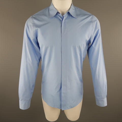 MARNI Size S Light Blue Solid Cotton Long Sleeve Shirt