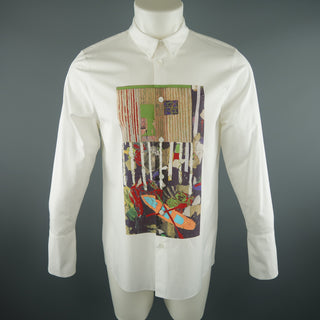 MARNI Size XS White Print Cotton Long Sleeve Shirt