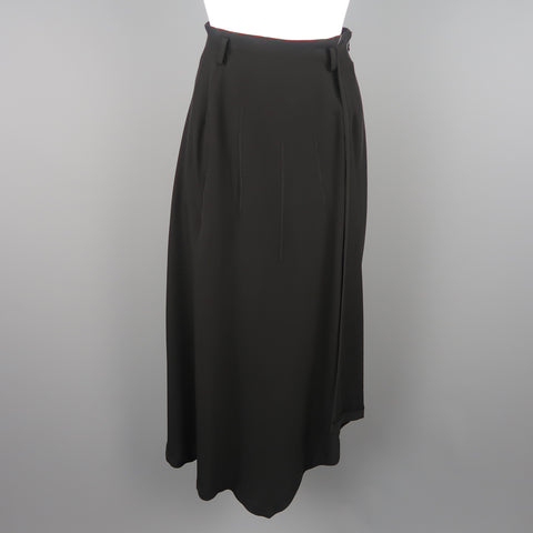 MATSUDA Size 2 Black Triacetate Blend Asymmetrical Skirt