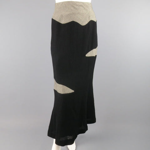 MATSUDA Size 4 Black Textured Wool / Nylon & Houndstooth Flare Skirt
