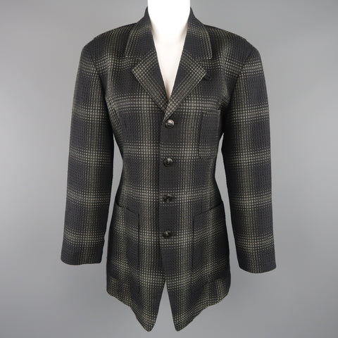 MATSUDA Size L Black &  Moss Green Plaid Wool / Silk Jacket Coat