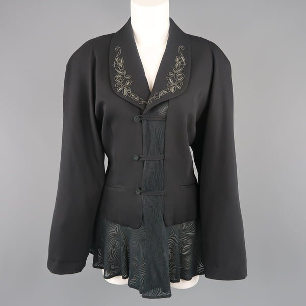 MATSUDA Size M Black Embroidered Lapel Moire Burnout Peplum Jacket
