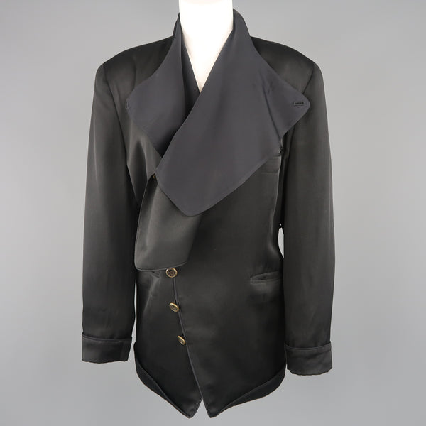 MATSUDA Size M Black Satin Draped Collar Double Breasted Jacket