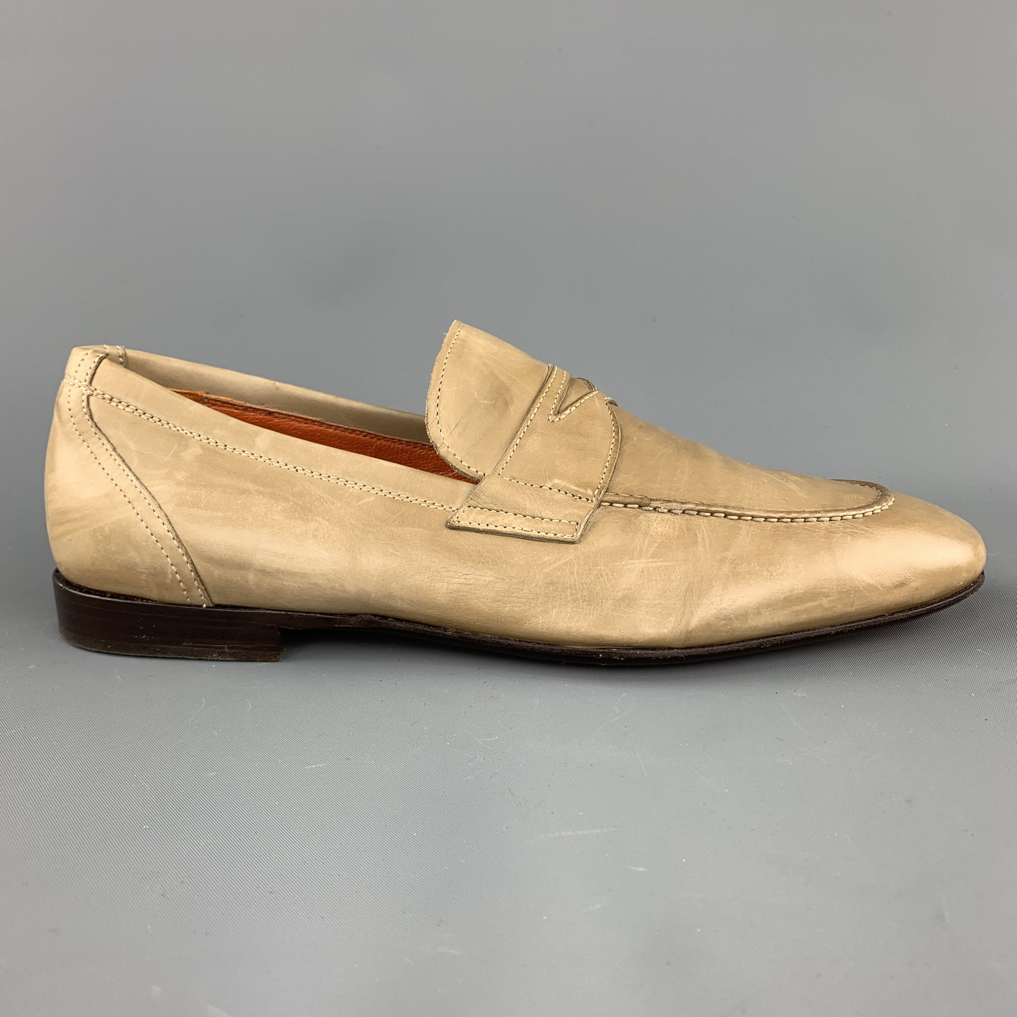 19a1cbbc4ee Sui Generis Designer Consignment. Home  MAURO VOLPONI Size 8 Taupe Solid  Leather Slip On Loafers. Click to Zoom