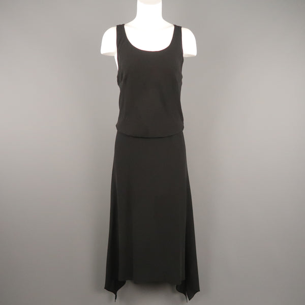 MAX MARA Size 12 Black Silk Layered Sleeveless Maxi Dress