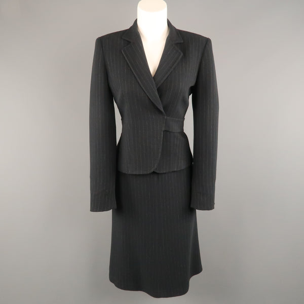 MAX MARA Size 8 Navy Pinstripe Wrapped Blazer Skirt Suit