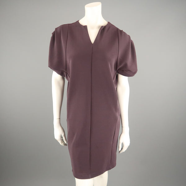 MAX MARA Size S Purple Textured Pleated Shoulder Shift Dress