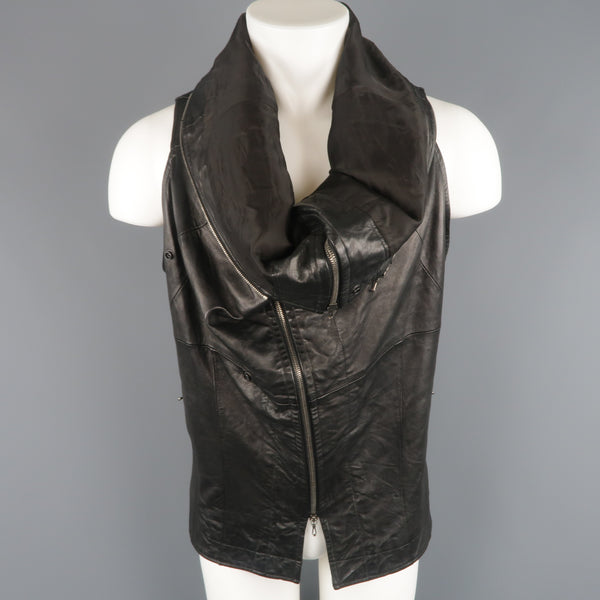 MA_JULIUS M Black Lamb Skin Leather Draped Collar Vest