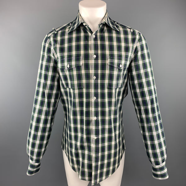 MICHAEL BASTIAN Size M Navy & White Plaid Cotton Button Up Long Sleeve Shirt