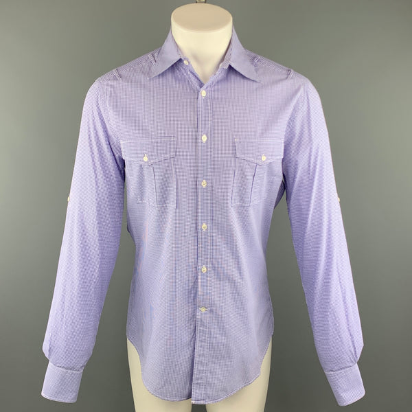 MICHAEL BASTIAN Size M Purple Checkered Cotton Button Up Long Sleeve Shirt