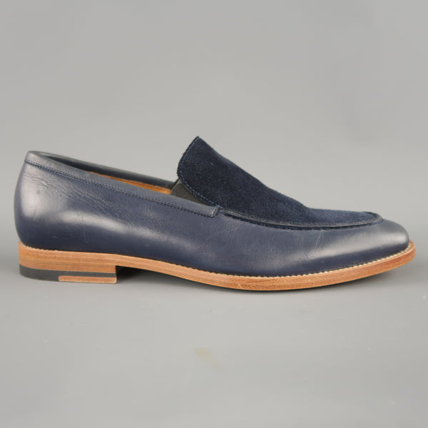 MILLBURN CO. Size 7.5 Navy Leather & Suede Apron Toe Loafers