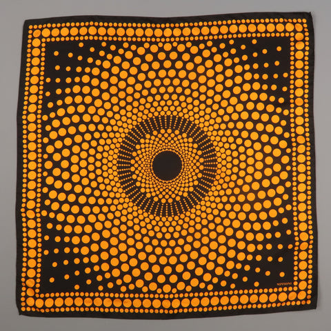 MISSONI Black & Orange Silk Spotted Print Scarf