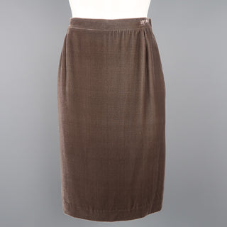 MISSONI Size 6 Taupe Silk Blend Velvet Zip Side Pencil  Skirt