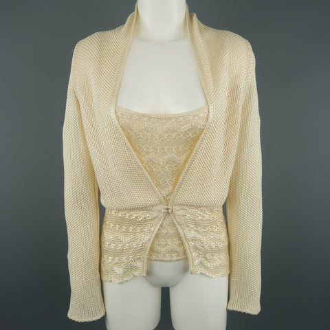 MISSONI Size 8 Cream Knit Cardigan & Camisole Top Set