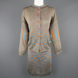 MISSONI Size 8 Multi-Color Rayon Knit Cardigan Skirt Set