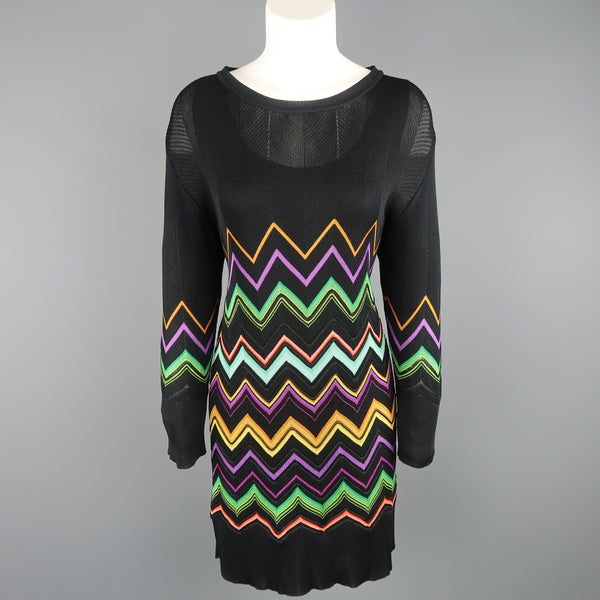 MISSONI Size L Black Multi-Color Chevron Silk Knit Long Sleeve Scoop Neck Dress