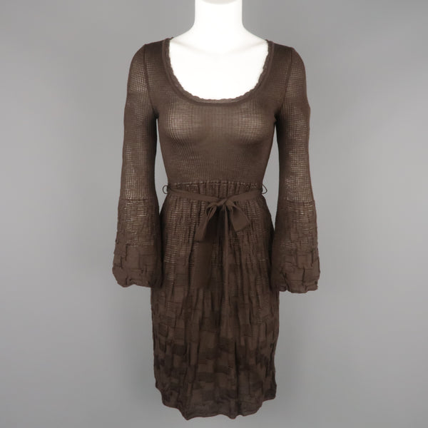 MISSONI Size S Brown Wool / Viscose Knit Fit Flair Bell Sleeve Dress