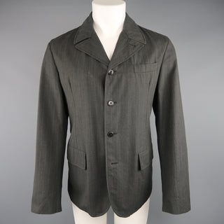 MIU MIU 40 Charcoal & Blue Pinstripe Wool / Cotton 4 Button Sport Coat