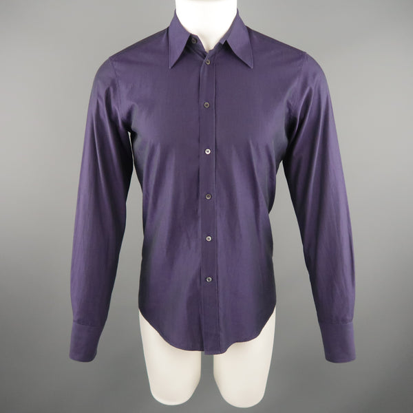 MIU MIU Size S Purple Solid Cotton Long Sleeve Shirt