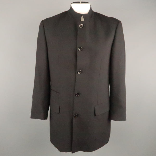 MONDO DI MARCO Chest Size 42 Long Black Solid Wool Nehru Collar Sport Coat