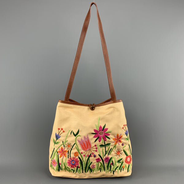MOSCHINO Beige Floral Embroidered Canvas & Tan Leather Handbag