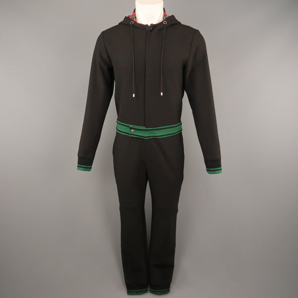 MR. TURK  Size S Black Jersey Green Banded Hooded Jump Suit