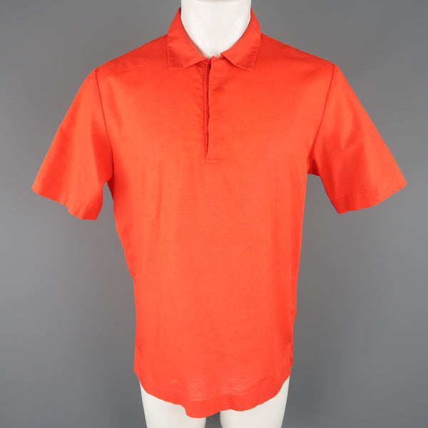 MSGM Size M Red Cotton / Linen Short Sleeve Polo Style Shirt