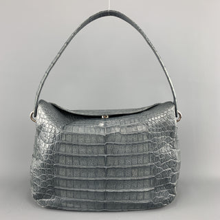 Muted Blue Grey Crocodile Skin Leather Top Handle Handbag