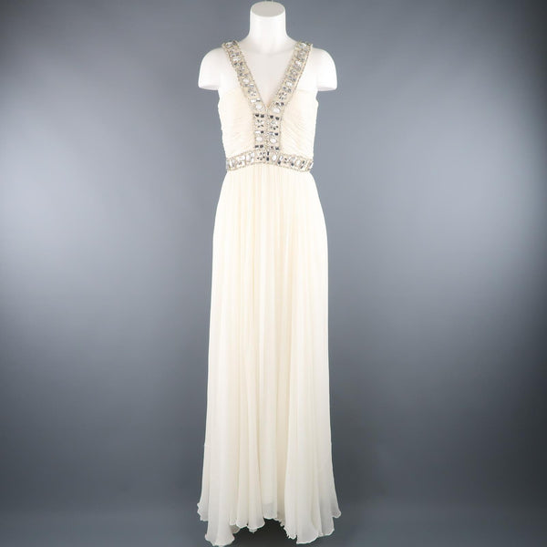 NAEEM KHAN Size M Cream Silk Crepe Chiffon Rhinestone Beaded Strap Dress / Gown