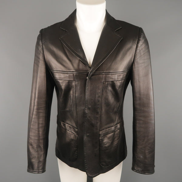 NARCISO RODRIGUEZ 38 Black Leather Snap Placket Sport Jacket