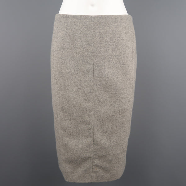 NARCISO RODRIGUEZ Size 6 Heather Grey Virgin Wool / Angora Tweed Skirt