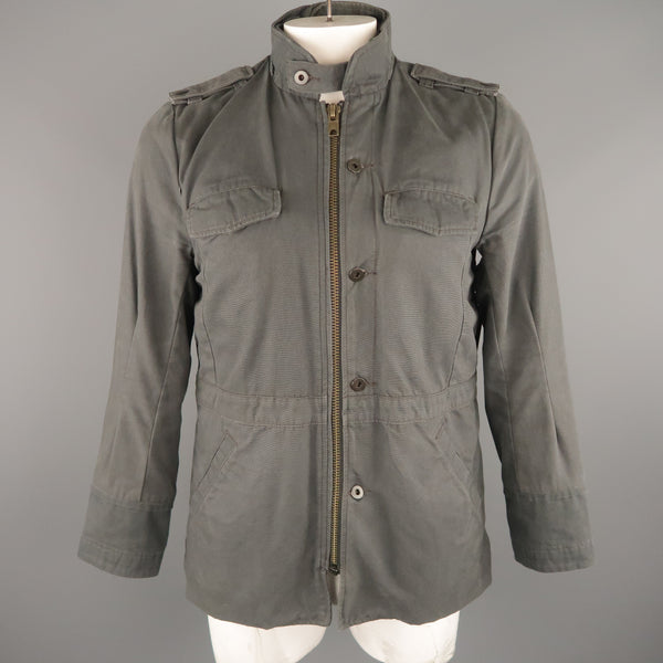 NICE COLLECTIVE L Dark Gray Cotton Military Style Jacket