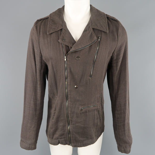 NICE COLLECTIVE M Brown Cotton Motorcycle Style Jacket