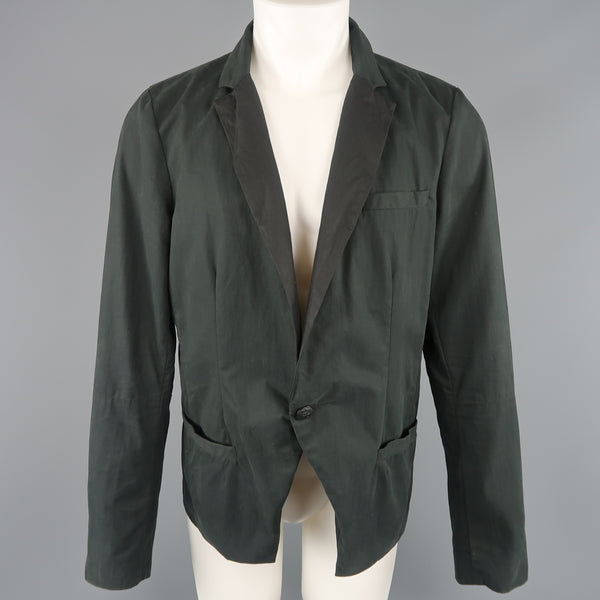 NICE COLLECTIVE M Forest Green Cotton Blazer Jacket - Sui Generis Designer Consignment