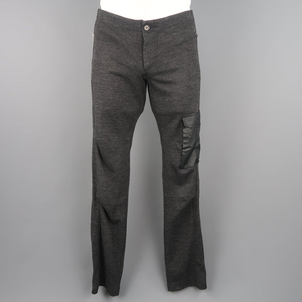 NICE COLLECTIVE Size 32 Charcoal Heather Cotton Blend Pocket Pants