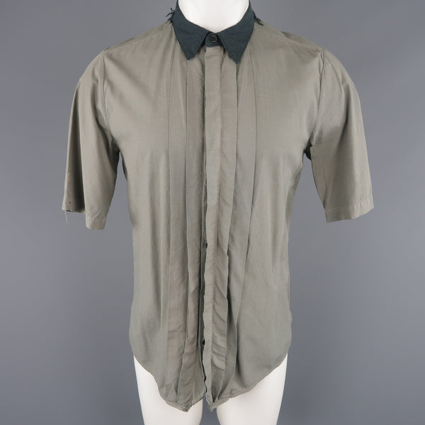 NICE COLLECTIVE Size M Grey Cotton Pleated Contrast Collar Short Sleeve Shirt
