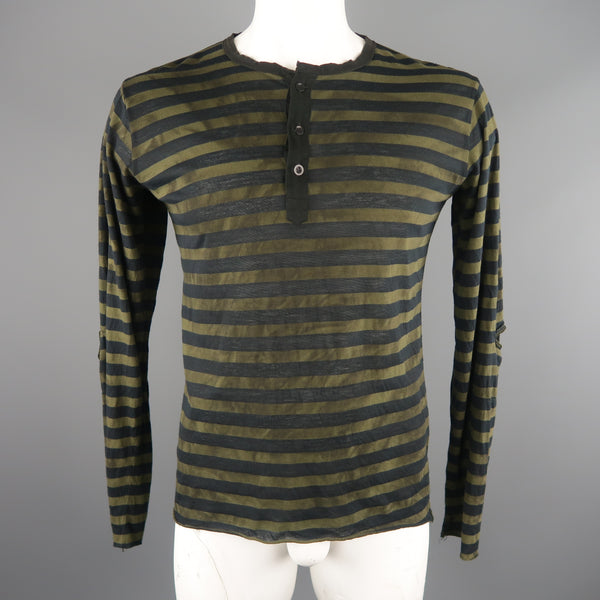 NICE COLLECTIVE Size XL Olive & Black Stripe Cotton  Long Sleeve T-Shirt