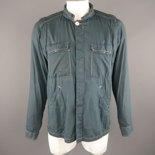 NICE COLLECTIVE XL Slate Contrast Stitch Cotton Jacket