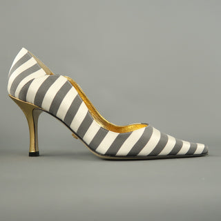 NICOLE MILLER Size 7 White & Gray Striped Satin Gold Heels ESTELLE Pumps
