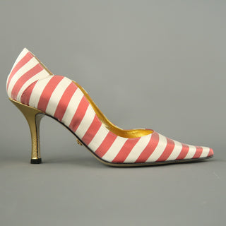 NICOLE MILLER Size 7 White & Red Striped Satin Hold Heels ESTELLE Pumps