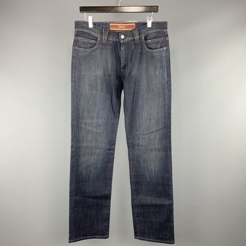NOTIFY Size 33 x 33 Indigo Waxed Denim Zip Fly Jeans