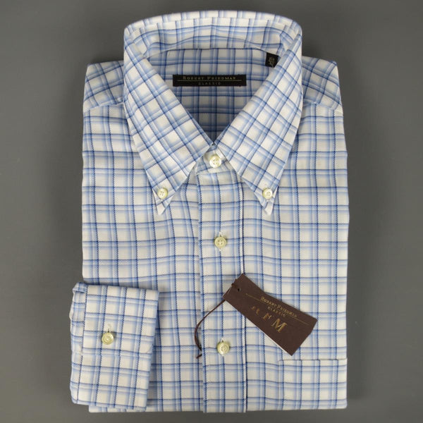 New ROBERT FRIEDMAN Size L Light Blue Plaid Cotton Long Sleeve Shirt
