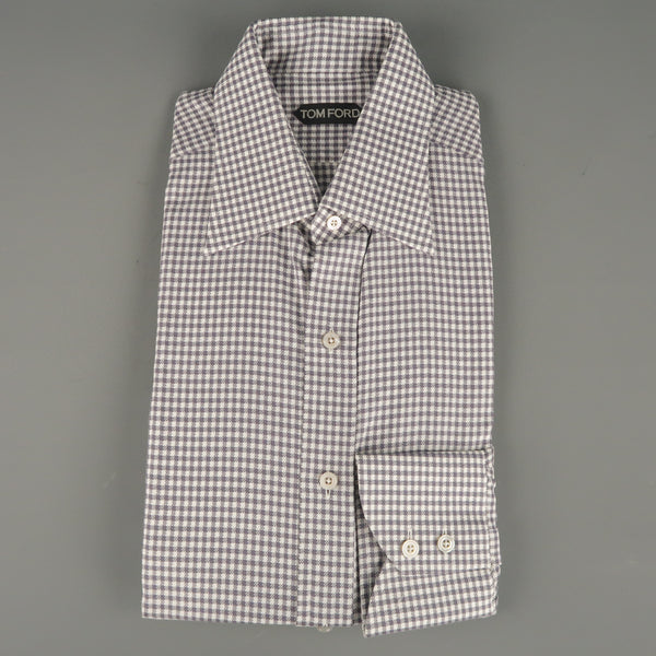 New TOM FORD Size L Taupe Gray & White Gingham Cotton Long Sleeve Shirt