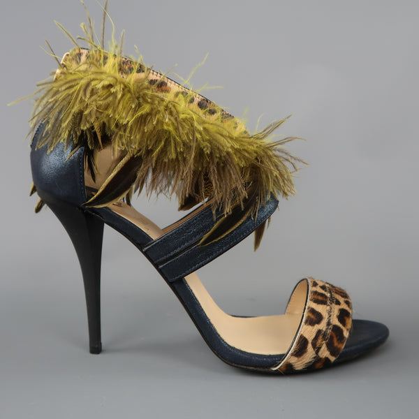 O JOUR US 9 /  IT 39  Navy Metallic Leather Leopard Green Feather Strap Sandals