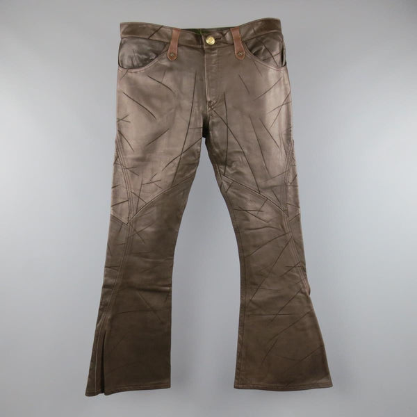 OBELISK Size 32 Brown Distressed Leather Bell Bottom Pants